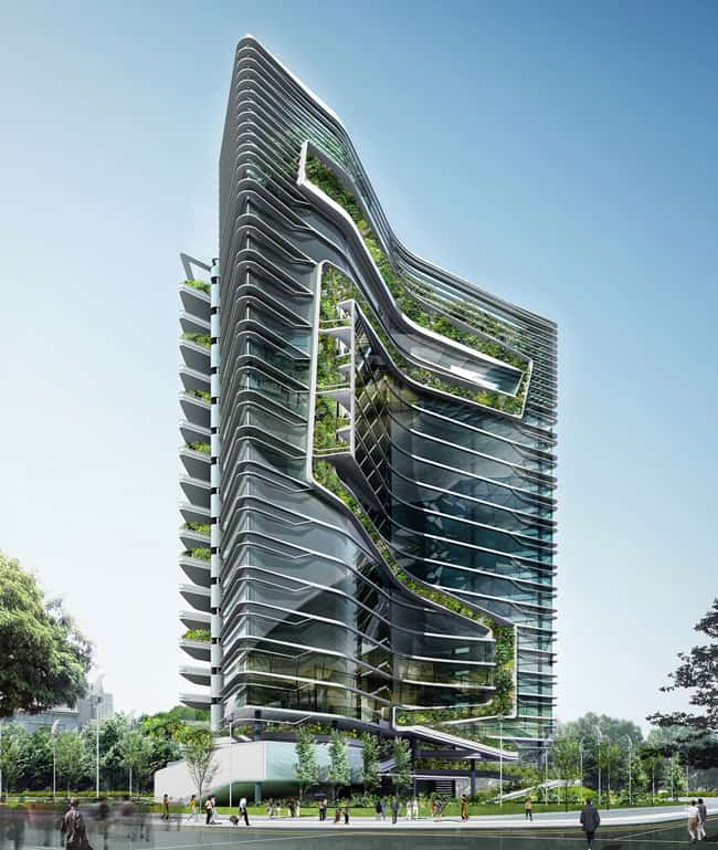 Ken yeang 39 s signature tower in india the grass is truly R house architecture research office