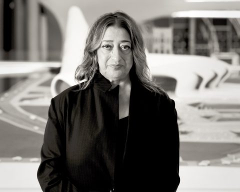 Zaha Hadid in Heydar Aliyev Cultural center in Baku nov 2013
